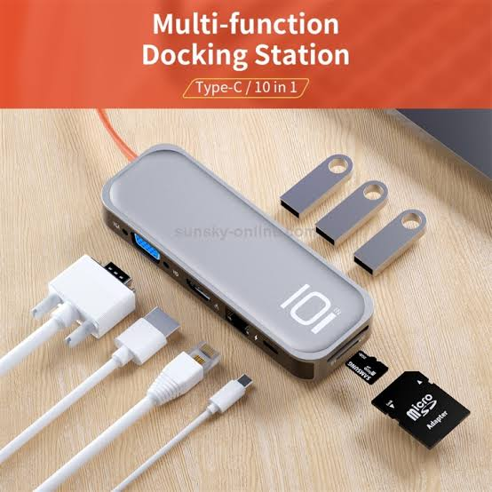 ROCK TR01 10 In 1 Type-C / USB-C to HDMI + VGA Multifunctional Extension HUB Adapter(Online Order Only)